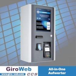 GiroWeb Aufwerter für Karten (EC, Girocard, Kreditkarte via NFC), Apple Pay, Google Pay und Bargeld mit Barrierefreiheit für Kantine und Mensa