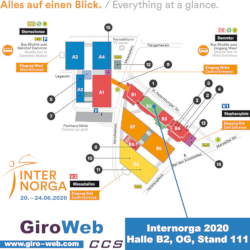 Internorga 2020 Messeplan | GiroWeb @ Halle B2 OG Messestand 111