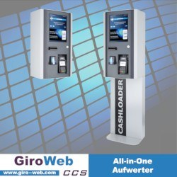 Barrierefreier GiroWeb Kombi-Aufwerter mit Aufladungs-Funktionen für RFID (Legic, Mifare, openCashfile OCF), Girocard & Kreditkarte (NFC), Apple Pay, Google Pay und Bargeld