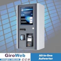GiroWeb Kombi-Aufwerter mit Aufladungs-Funktionen für RFID (Legic, Mifare, openCashfile OCF), Girocard & Kreditkarte (NFC), Apple Pay, Google Pay und Bargeld sowie Barrierefreiheit